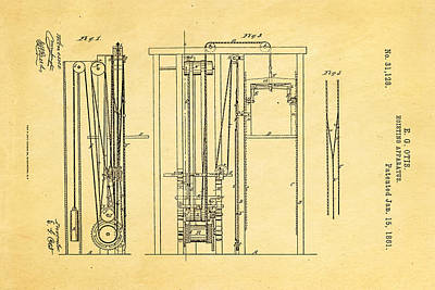 1861 Photograph - Otis Elevator Patent Art 1861  by Ian Monk