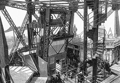 Eiffel Tower Drawing - Otis Lift And Spiral Stairs At Second by Mary Evans Picture Library