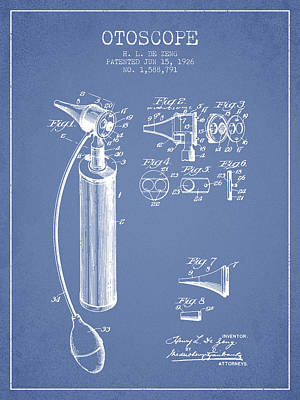 Otoscope Patent From 1926 - Light Blue Art Print by Aged Pixel