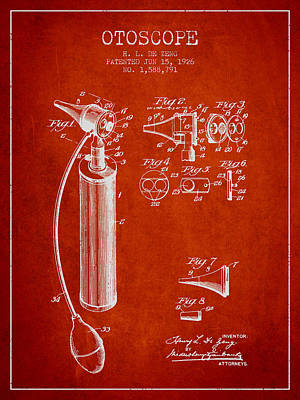 Otoscope Patent From 1926 - Red Art Print by Aged Pixel
