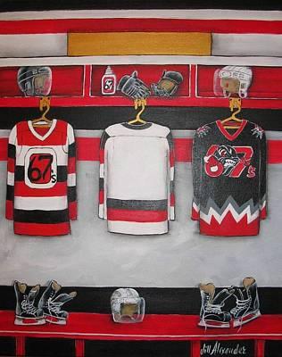 Ottawa 67's Player Locker Room Art Print by Jill Alexander