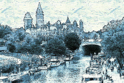 Drawing - Ottawa Rideau Canal - Canada by Art America Gallery Peter Potter