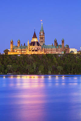 Canadian Parliament Photograph - Ottawa Blue Hour by Mircea Costina Photography