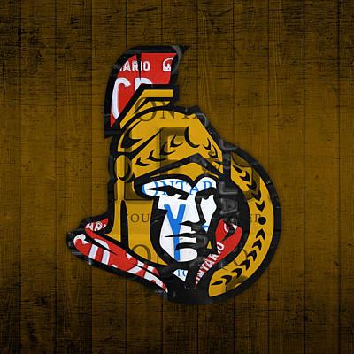 Hockey Mixed Media - Ottawa Senators Hockey Team Retro Logo Vintage Recycled Ontario Canada License Plate Art by Design Turnpike
