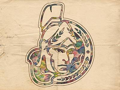 Ottawa Digital Art - Ottawa Senators Vintage Poster by Florian Rodarte