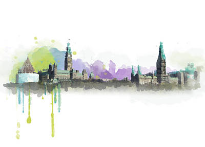 Red Deer Painting - Ottawa Skyline 18 by Mahnoor Shah