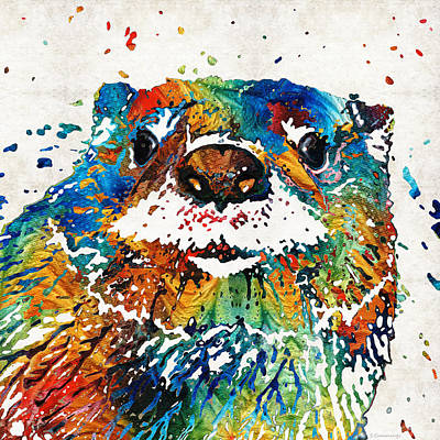 Bright Color Painting - Otter Art - Ottertude - By Sharon Cummings by Sharon Cummings