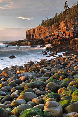 Down East Maine Photograph - Otter Cliffs At Sunrise by Stephen  Vecchiotti