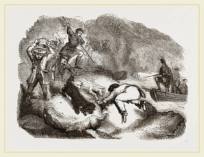 Otter Drawing - Otter-hunting At A Cairn by Litz Collection