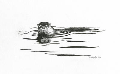 Otter In The Water Art Print