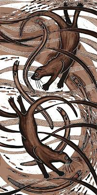 Printmaking Photograph - Otter With Eel, 2013 Woodcut by Nat Morley