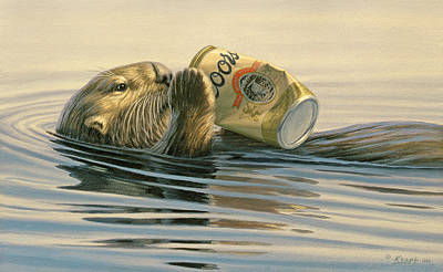 Otter Painting - Otter's Toy by Paul Krapf