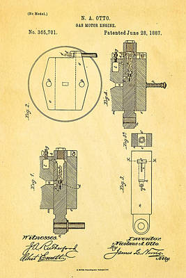 1887 Photograph - Otto Gas Motor Engine Patent Art 1887 by Ian Monk