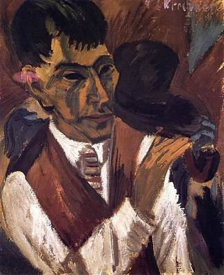 Berlin Germany Painting - Otto Mueller With Pipe by Ernst Ludwig Kirchner