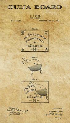 Necromancer Digital Art - Ouija Board Patent Art 1 -- 1891 by Daniel Hagerman