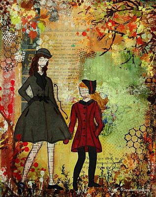 Autumn Trees Mixed Media - Our Best Memories  Autumn Days Mixed Media Folk Artwork by Janelle Nichol