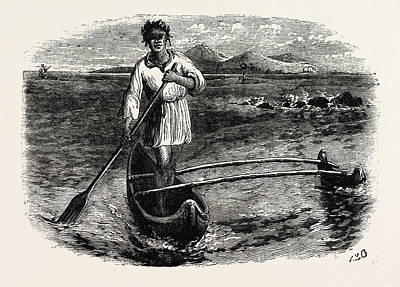 Pacific Ocean Drawing - Our Boatman At Tahiti, French Polynesia by French School