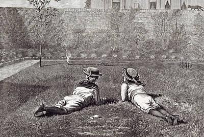 Our Boys, 1877 Garden Wall Grass Hat Tin Soldiers Tin Gun Art Print by Severn, Walter (1830-1904), English