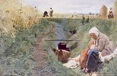 Elderly Drawing - Our Daily Bread, 1886 by Anders Leonard Zorn