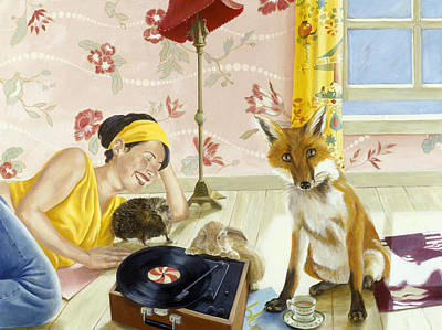 Turntable Photograph - Our Fabulous Babysitter Acrylic & Oil On Canvas by Alix Soubiran-Hall