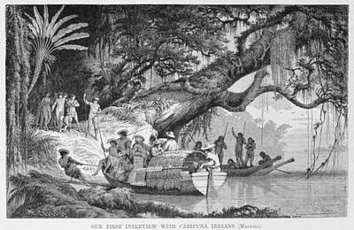 Canoe Photograph - Our First Interview With Caripuna Indians, From The Amazon And Madeira Rivers, By Franz Keller by American School