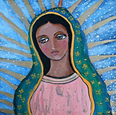 Virgen Mary Painting - Our Lady Of Guadalupe Folk Art by Alma Yamazaki