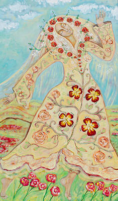 Virgin Guadalupe Wall Art - Painting - Our Lady Of The Flowering Earth by Shiloh Sophia McCloud