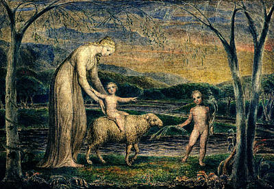 Young Boy Photograph - Our Lady With The Infant Jesus Riding On A Lamb With St John by William Blake