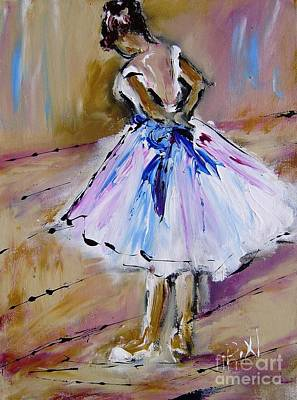 Little Ballerina Painting - Our  Ballerina Girl Painting by Mary Cahalan Lee- aka PIXI