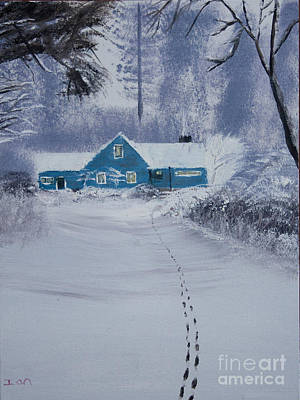 Painting - Our Little Cabin In The Snow by Ian Donley