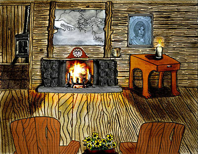 Gerald Griffin Drawing - Our Little Log Home by Gerald Griffin