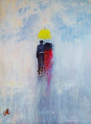 Art Print featuring the painting Our Love And A Summer Rain by Cristina Mihailescu