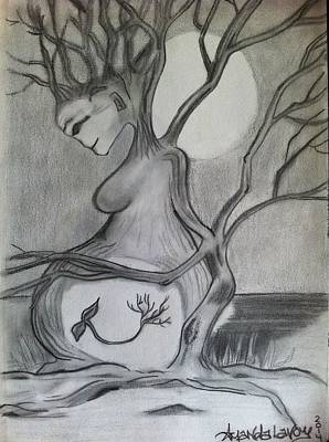 New Moon Drawing - Our Mother Nature -sketch by Amanda Lavoy