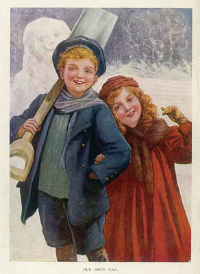 Girl With Coat Drawing - 'our Snow Man' - A Brother And Sister by Mary Evans Picture Library