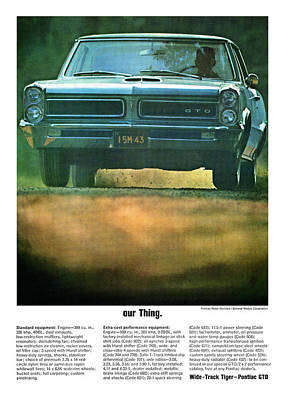 Racetrack Digital Art - our Thing. 1965 Pontiac GTO by Digital Repro Depot