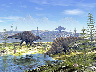 Photograph - Ouranosaurus Dinosaurs Looking by Elena Duvernay
