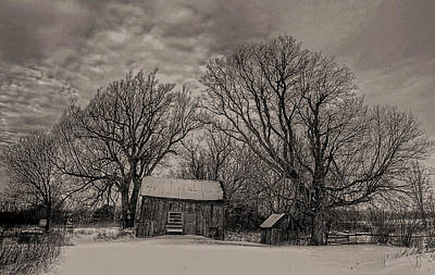 Photograph - Out Buildings In Winter by Jim Vance