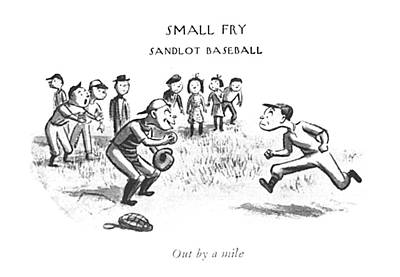 Nationals Baseball Drawing - Out By A Mile by William Steig