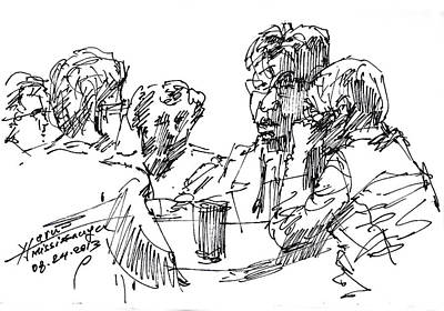 Coffee Drawing - Out For A Coffee 3 by Ylli Haruni