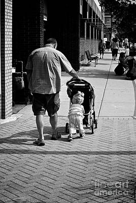 Frank J Casella Royalty-Free and Rights-Managed Images - Dad and Daughter Out for a Stroll by Frank J Casella