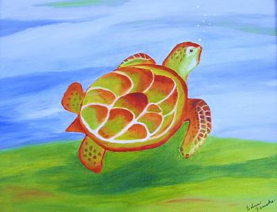 Out For A Swim Art Print by Edna Fenske