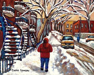 Of Verdun Montreal Winter Street Scenes Montreal Art Carole Painting - Out For A Walk Winter Staircases In Montreal Canadian Art Urban Landscape Painting Carole Spandau by Carole Spandau
