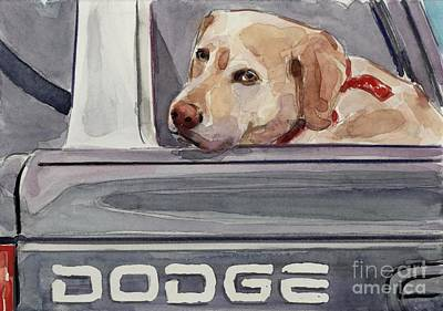 Yellow Lab Painting - Out Of Dodge by Molly Poole