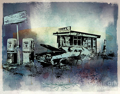 Antique Automobiles Mixed Media - Out Of Fuel by Bedros Awak