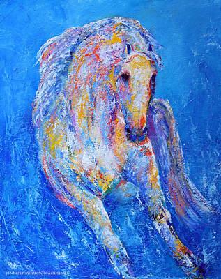 Colorful Horse Painting - Out Of The Blue by Jennifer Godshalk