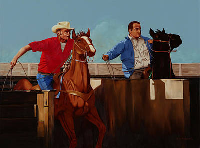Team Roping Painting - Out Of The Chute by Hugh Blanding