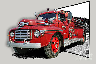 Out Of The Photo Fire Truck Art Print by Randy Harris