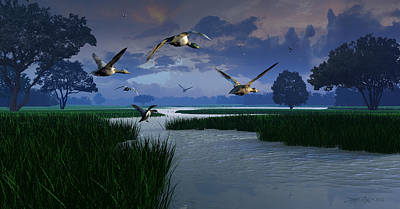 Goose Digital Art - Out Of The Storm by Dieter Carlton