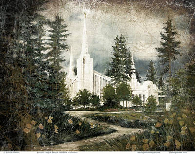 Painting - Out Of The Wilderness Portland Oregon Temple by Marcia Johnson
