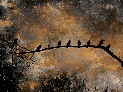 Eight Crows Out On A Limb Art Print